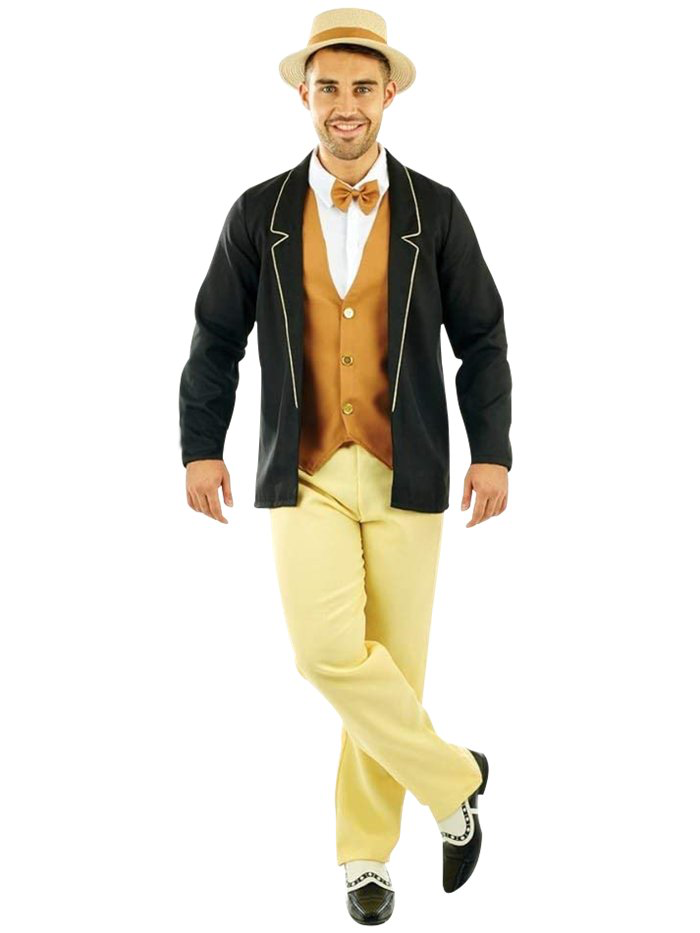 1920's Gentleman - The 1920s was an iconic era for fashion, and this stylish gentleman's outfit will help you show that off at your next fancy dress party.It's the perfect smart casual costume for a 20s-themed evening!Size:Size: 38-40