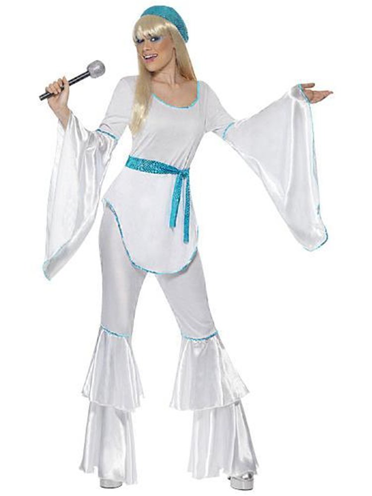 Super Trouper - Hit the dance floor and boogie with this ABBA inspired, four piece Super Trooper Costume from our Decades collection.This 70's style outfit features a white top with blue sequin trim and satin look, long drape sleeves along with a self-tie, sparkling waist sash.A pair of white, tiered trousers with matching sequin trim and a comfortable elasticated waist and then the whole look has been pulled together with the addition of a beret, an iconic fashion accessory of the 70's.Just like Waterloo, you couldn't escape even if you wanted to.from the fact that this is simply an unforgettable costume, so have your Mamma Mia moment and dance the night away at your next 70's or ABBA themed occasion in this fabulous, iconic outfit !Size: 8-10Chest: 88-90cm (35-36