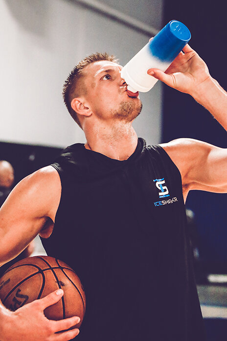 Rob Gronkowski, former star tight end for the New England Patriots, is the face of the Ice Shaker brand.