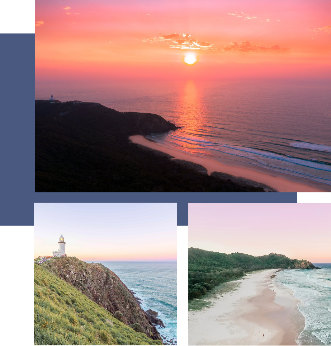 SUNRISE AND SUNSETS - There is nothing more nostalgic than rising with the sun and then watching it set. We have put together a collection of our fave sunrise and sunset spots for the perfect start and the ultimate end to your day.- Byron Bay Lighthouse- Little Wategos- Wategos- The Pass- Tallows Beach- Fingal HeadOut of all the top sunrise/ sunset locations we can't go past the Byron Bay Lighthouse. Sitting pretty on top of a cliff, the lighthouse overlooks the ocean and is one of the most popular destinations when visiting Byron Bay.Images by @saxonkent and @photography_byron_bay