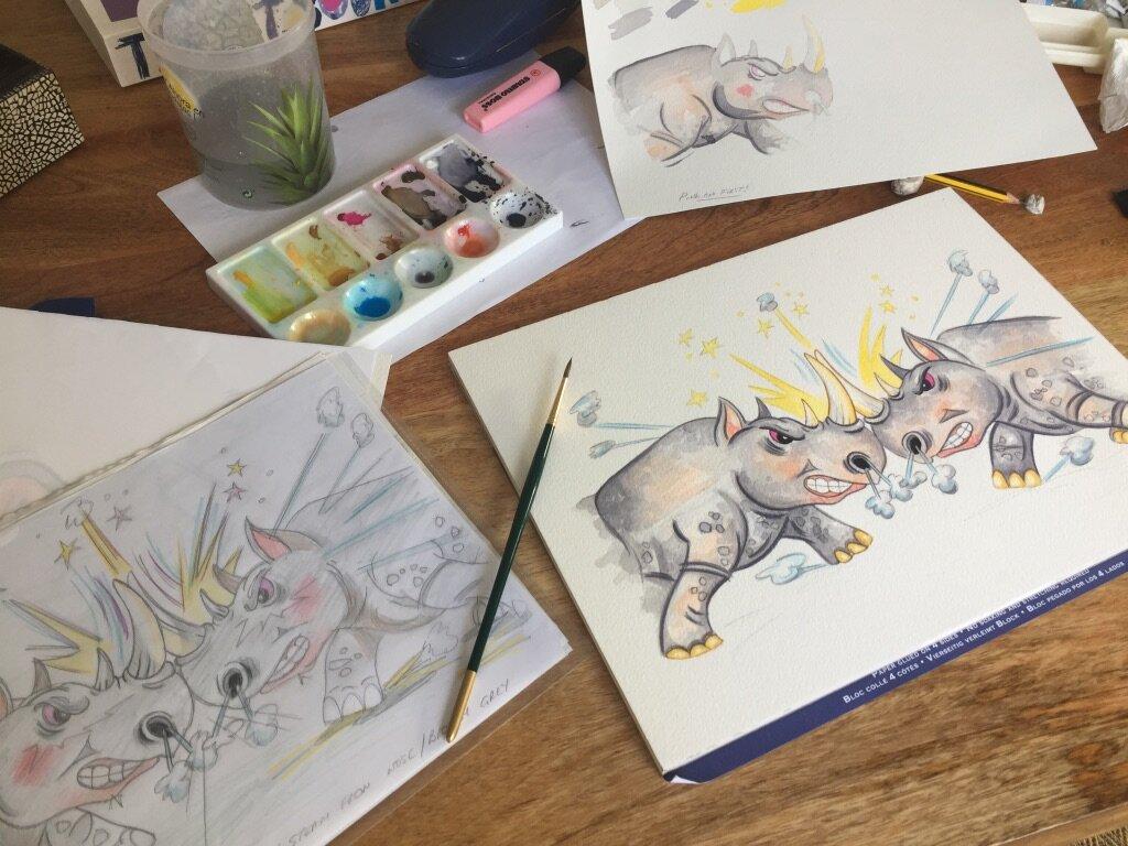 Sketching rhinos :)