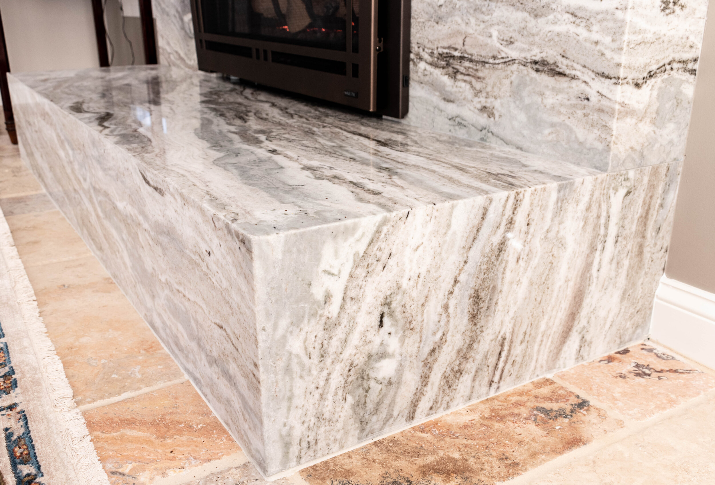 Material: Brown Fantasy  Thickness, Finish & Stone Type: 3CM Polished Hard Marble  Edge: Mitered