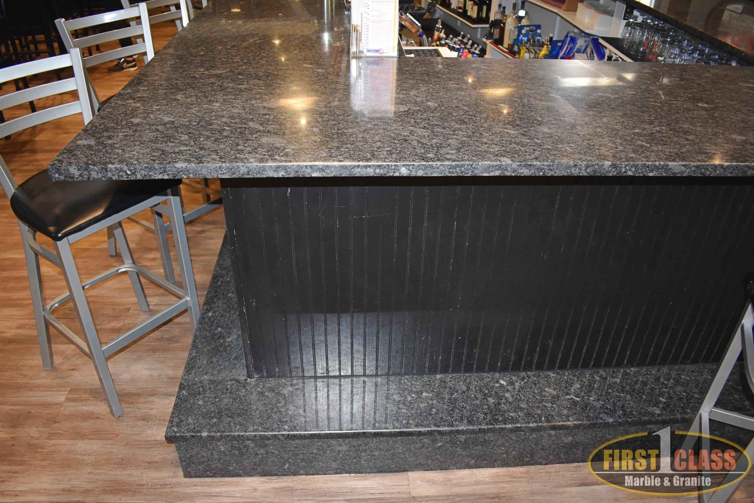 "Material: Steel Grey  Thickness, Finish & Stone Type: 3CM Polished Granite  Edge:  Eased 3/8"" Radius - Foot Ledge"