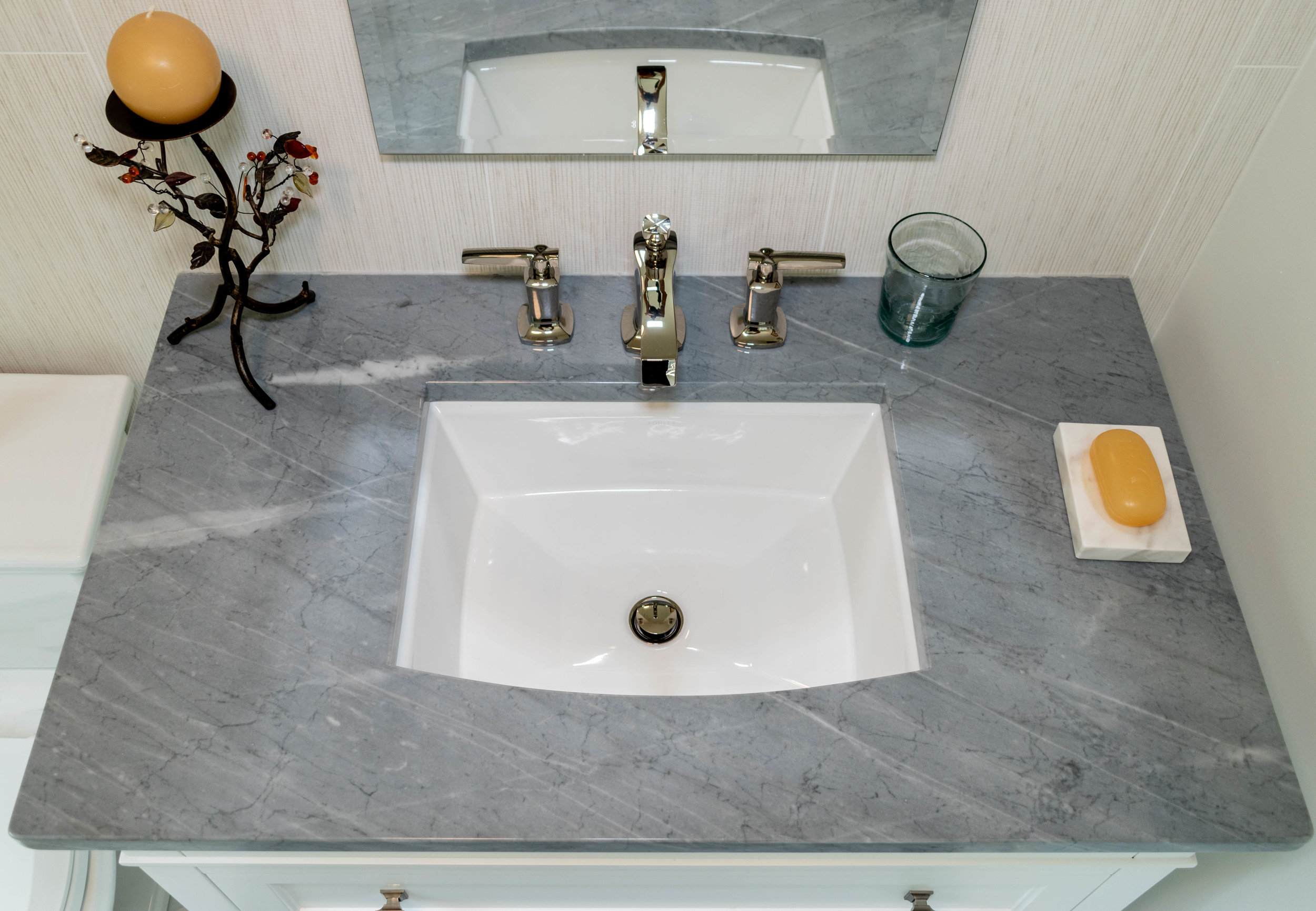 Material: Bardiglio  Thickness, Finish & Stone Type: Bardiglio 3CM Polished Marble  Edge: Eased  Sink: Client's Sink: Under-Mount
