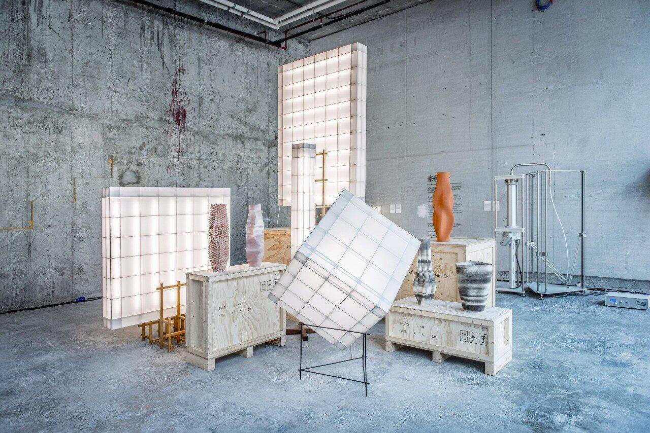 lights by Studio Mieke Meijer and ceramics by Olivier van Herpt
