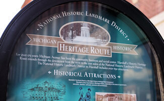 Our main street is a Michigan Historic Heritage Route since this 14 block area has no fewer than 14 official Michigan Markers. These locations reflect Marshall's early importance in Michigan history, especially in areas of government, education, abolition, railroads, unionism and architecture.