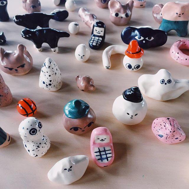 new tiny ceramics available tomorrow @diyartmarket ✨👻 open 11-6pm, London . . . . . #ceramics #clay #characters #fair #london #exhibition #ghost #phone #worm #illustration #design