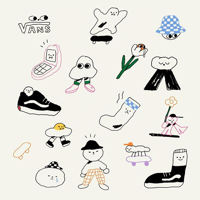 I'm at the @vans store in Meadowhall, Sheffield tomorrow, illustrating on your tee's 5-10pm . . . . . #vans #illustration #design #tshirt #characters #drawing #trainers #flashsheet