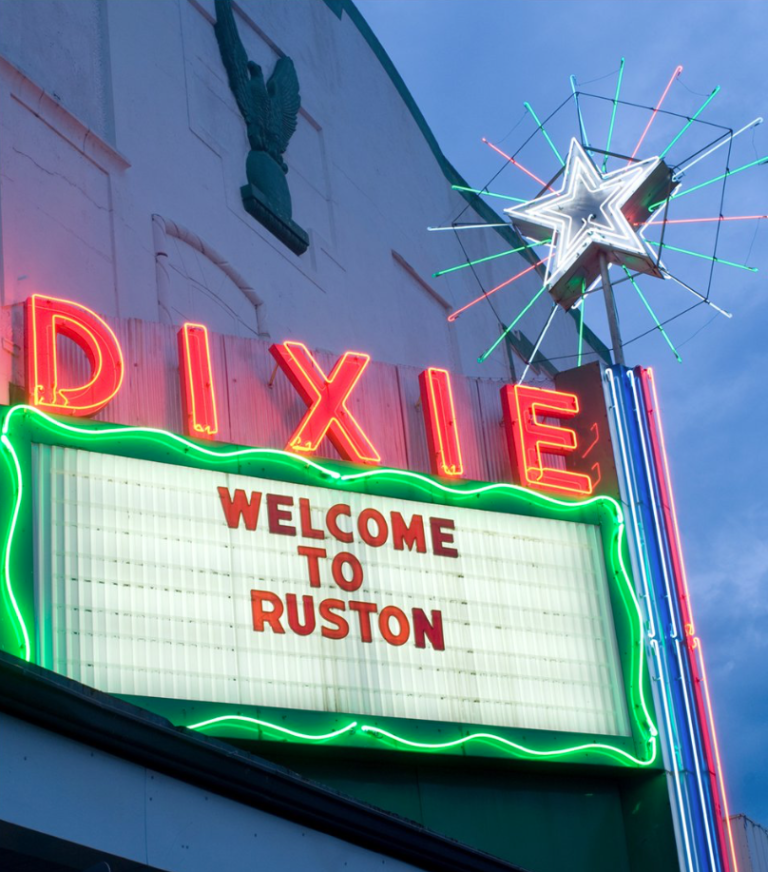 Restored iconic Dixe Star and marquee. Provided by Hawkins Photography in Ruston.