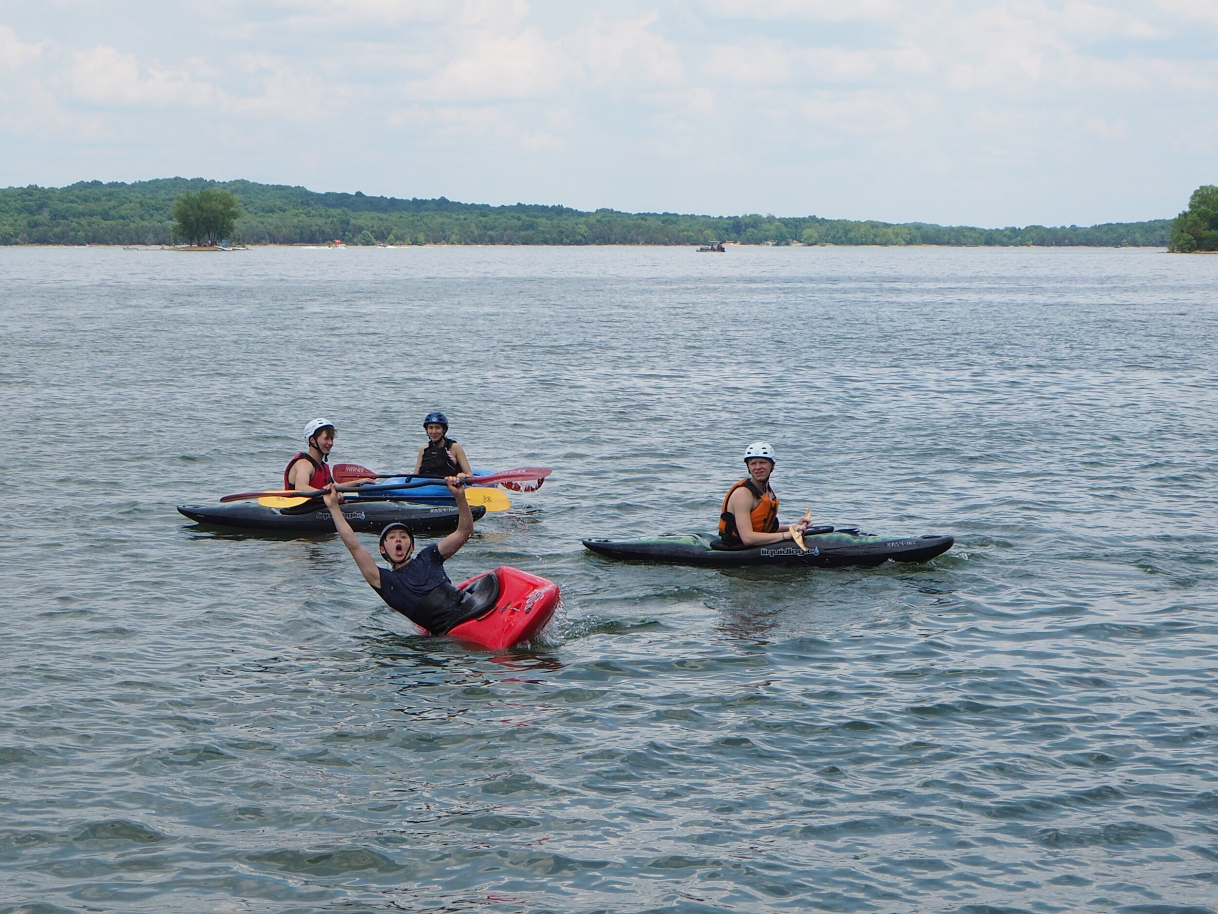 Some of our SyBBUREites exploring the great outdoors by kayaking at Percy Priest!
