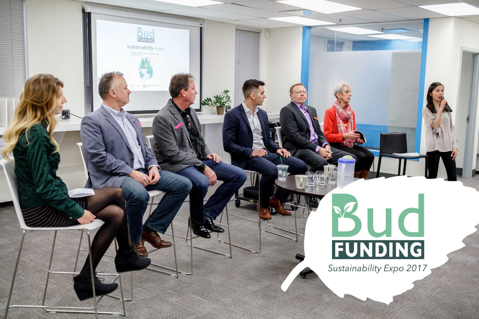 From left: Founder of Budfunding: Kristin Skelton, President & CEO of SolAgra: Darren Bruins, Co-founder & Senior Director of: SolAgra Kurt Vouri, President & CEO of InOrbis: Rosario Fortugno, Founder of Ventures Green: Darren Anderson, Professor of Sustainable Energy Development Capstone Research: Irene Herremans, Past Co-founder of Budfunding: Emma Yang