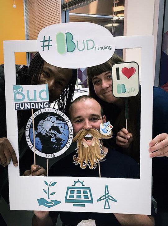 The Arctic Institute of North America at the Budfunding Photo Booth! Check out our original logo at the top of the photo booth frame.
