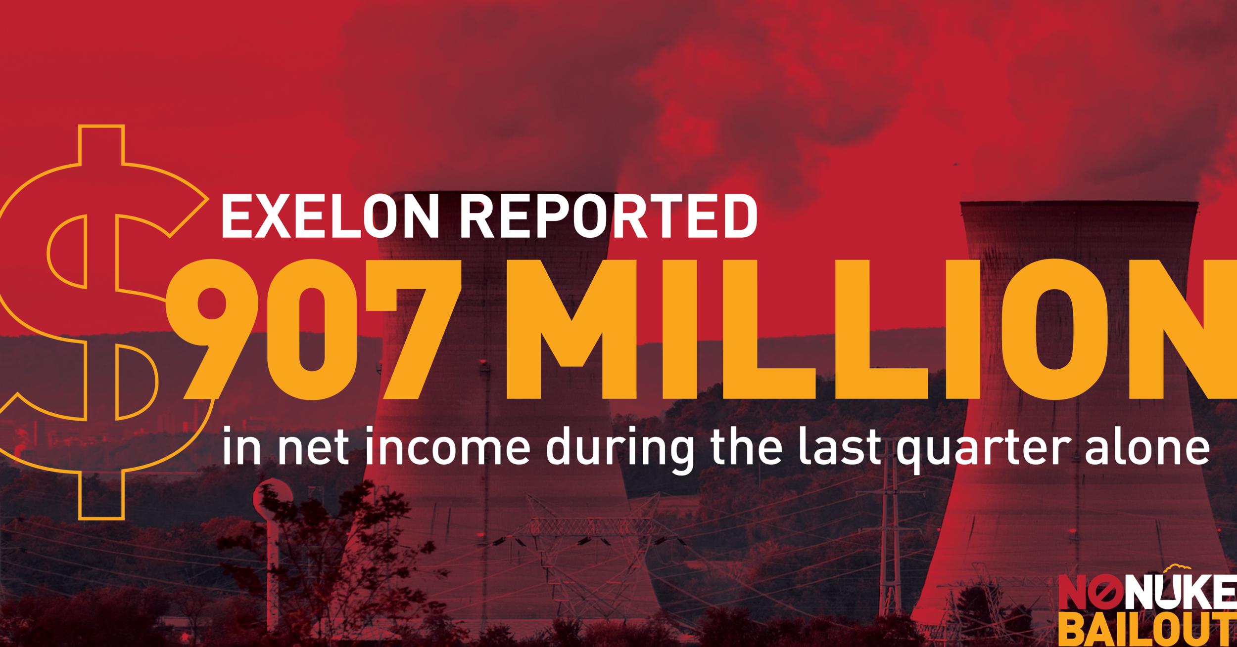 Exelon is seeking a nuclear bailout in PA despite earning $907 million in profits in Q1 2019.