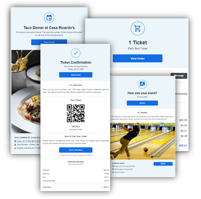 Automatic Emails - Customers receive beautifully designed emails with ticket confirmation, Payment receipt, Event Details, Check-in reminder, Rating request, Pictures/Videos/informational updates shared by your staffYour Staff can opt-in for business notifications such as ticket purchase, customer comments etc.