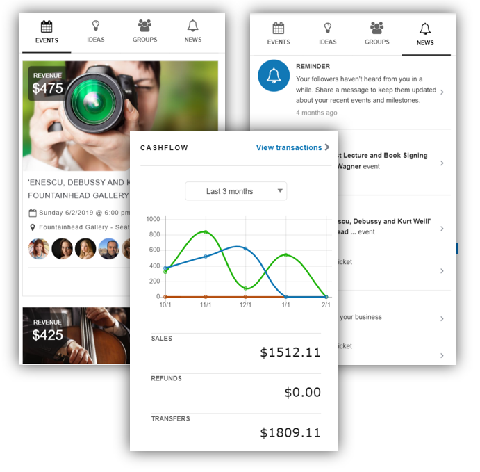 One-Stop Dashboard - Event calendar keeps track of all your events in one placeEngagement feed shows relevant information about how your customers are engaging with your events and your brandFinancials help you track all transactions happening under your account and you can also get a quick summary