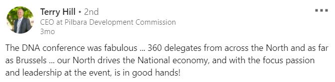 Testimonial; Developing Northern Australia conference 2020