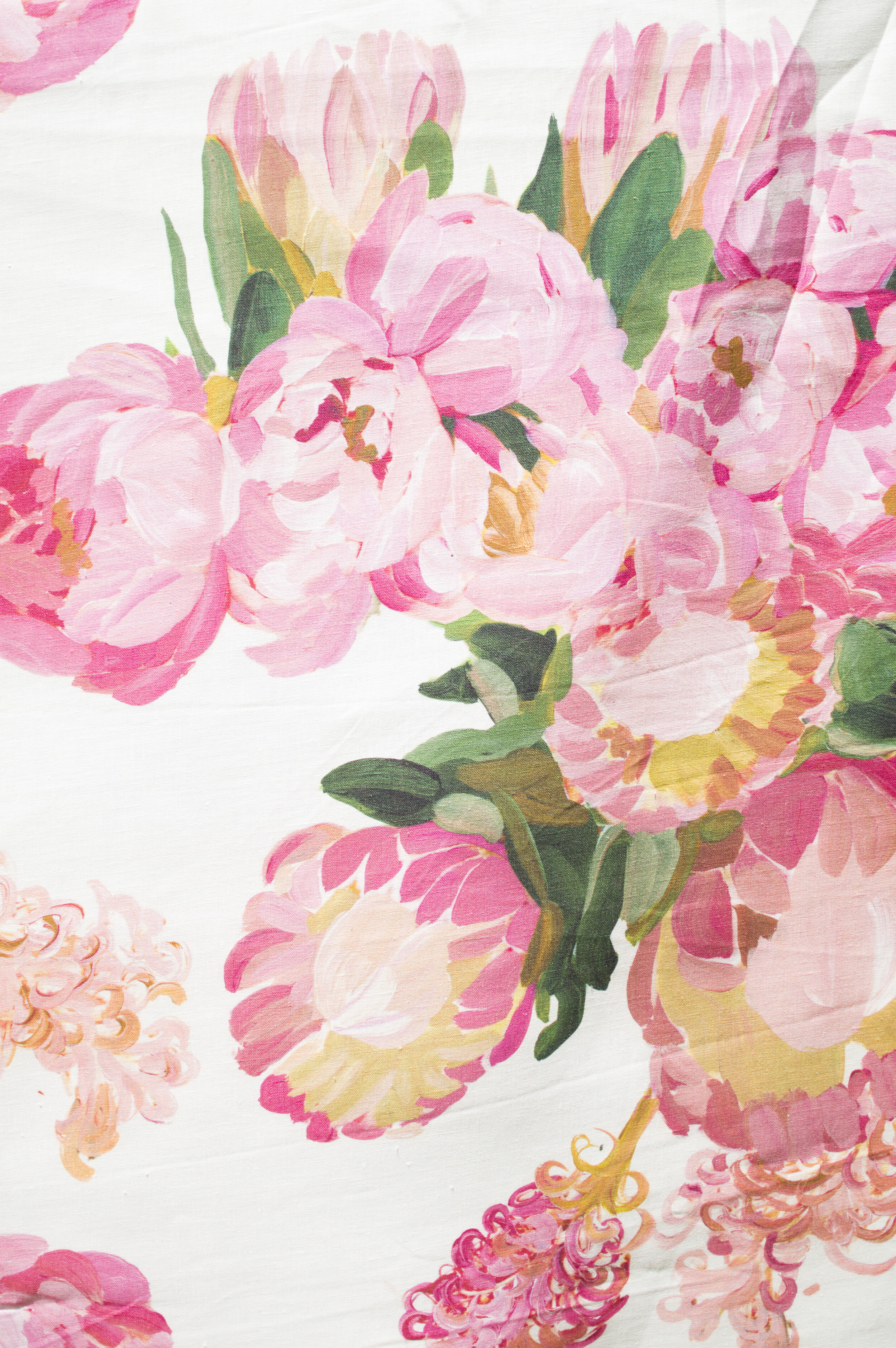 Foliage | PEONIES  Pink Peonies and Protea blooms arranged to play with scale and shape in this oversized, yet delicate, floral print. This lavish bed of flowers is our interpretation of a perfectly overgrown garden in the countryside.