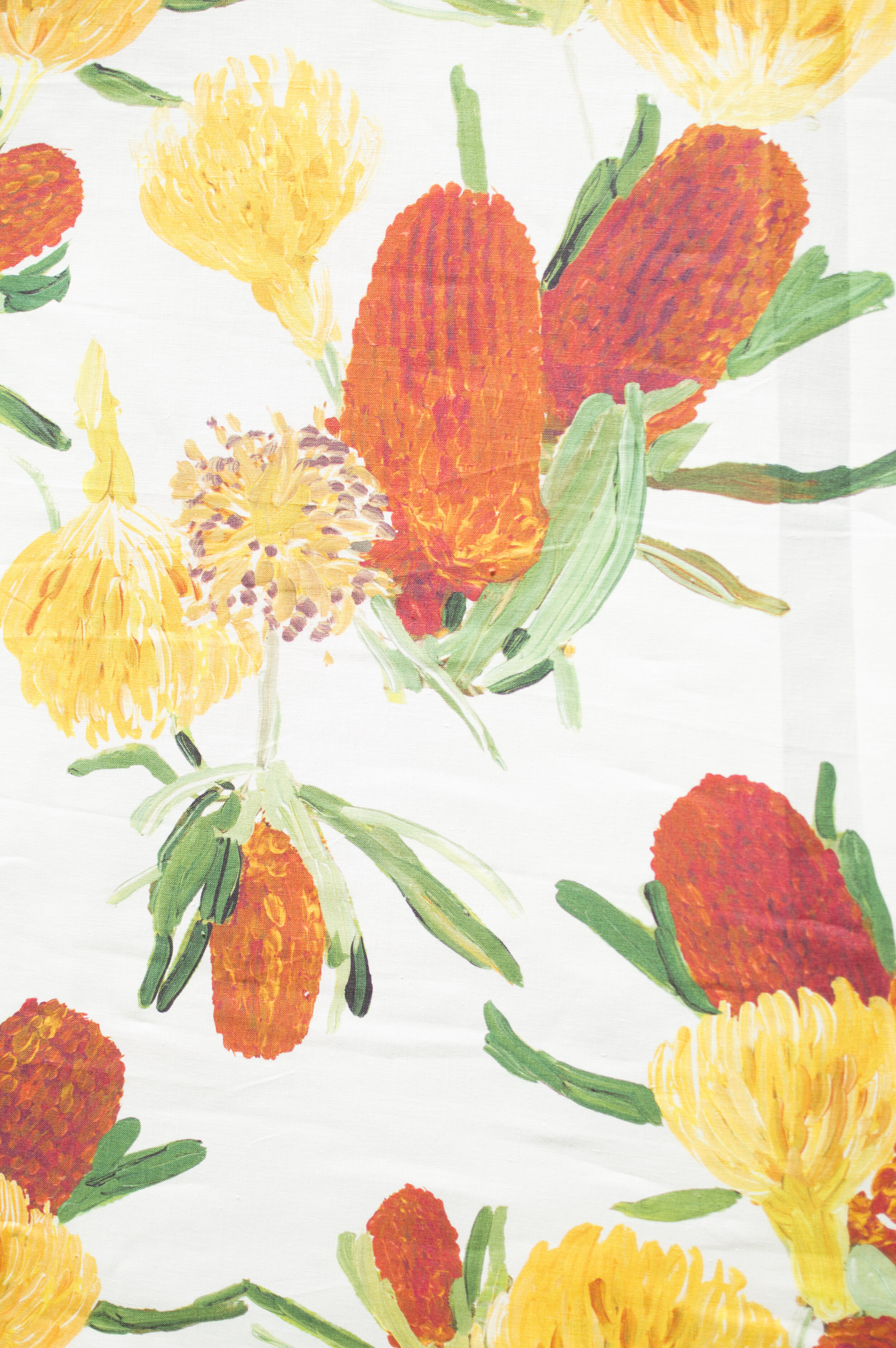 Foliage | SUGARBUSH  A burnt orange and bright yellow palette for this unusual floral. Proteas make for fun shapes and a dynamic composition, which is why we love this bold print of uncommon flowers.