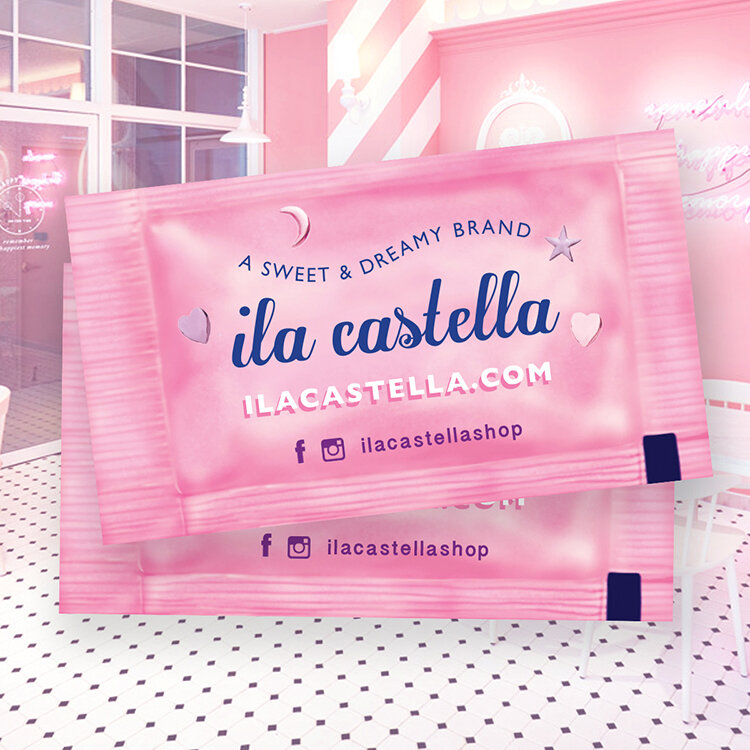 Sugar packet inspired, Ila Castella metallic business card design.