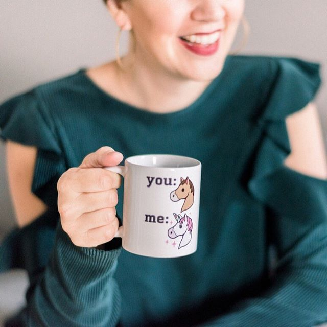 """Rachel Hollis and Dharma from Dharma and Greg. . Frequently I hear the words """"you know who you remind me of?"""" I answer, with 100% accuracy, Rachel or Dharma. . Now here is the scoop. If you know anything about the Enneagram, I am an Enneagram 4. The Individualist. Being compared to anyone makes my soul sad. Now, I KNOW these comparisons were meant as a compliment and they were received in love because it is cool that I remind people of influential (and funny) women. But Rachel and Dharma are not the standard of success for me. . A dear friend of mine gave me this super pretentious mug and if this isn't the most supped up version of a mule I don't know what is. (You probably think it's a horse but I was the Mule Day Queen so it's a mule ok?) . I am the unicorn mule. Yes I am. I am loud and goofy and flashy and special. Even still-I am not better than my sisters who are the other mule. No sir. I am me-you are you. The flash, glitter and gold is not the preferred way for everyone. It is not the standard to be measured against. Whoever YOU are is the standard. . The truth is - I don't want to be Rachel Hollis or Dharma (or the actress who plays her). I want to be Courtney. I am better at being and knowing and loving and becoming Courtney. I have so much more to give as Courtney. The person I want to remind people of-is Courtney. Whole, alive, healthy, restful, playful, imaginative, sparkly, dancing queen Courtney. . More importantly, I don't want you to be me. I want you to be YOU. Whole, alive, healthy, plus the other things that put you together. That's what I am after on this page, and in my classes, and when I speak - I'm after the real you. Not who you are measuring or being measured against. . Listen loves we live in a world where coffee mugs try to compare us. We don't have to believe it! Whatever mule you are, even somewhere in the middle, is right, good and preferred. Delight in it sister! Call it out in your girlfriends! I'll see you on the dance floor."""