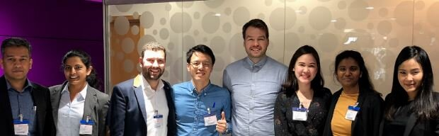 CampusConnect's Daniel Hinkley (centre right) with MBA students who recently discussed their pre-enrolment experience.