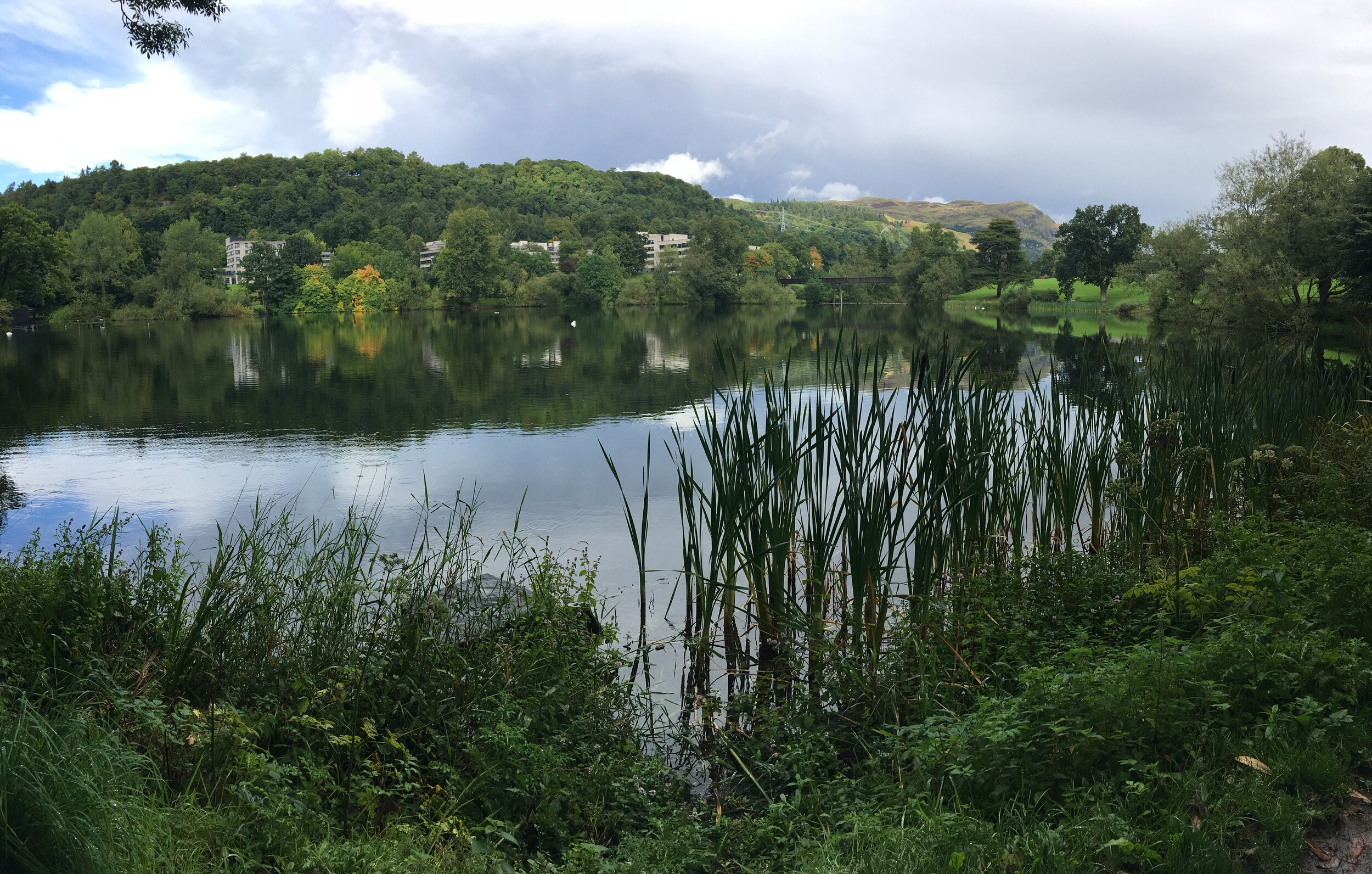 A loch on campus at the University of Stirling.