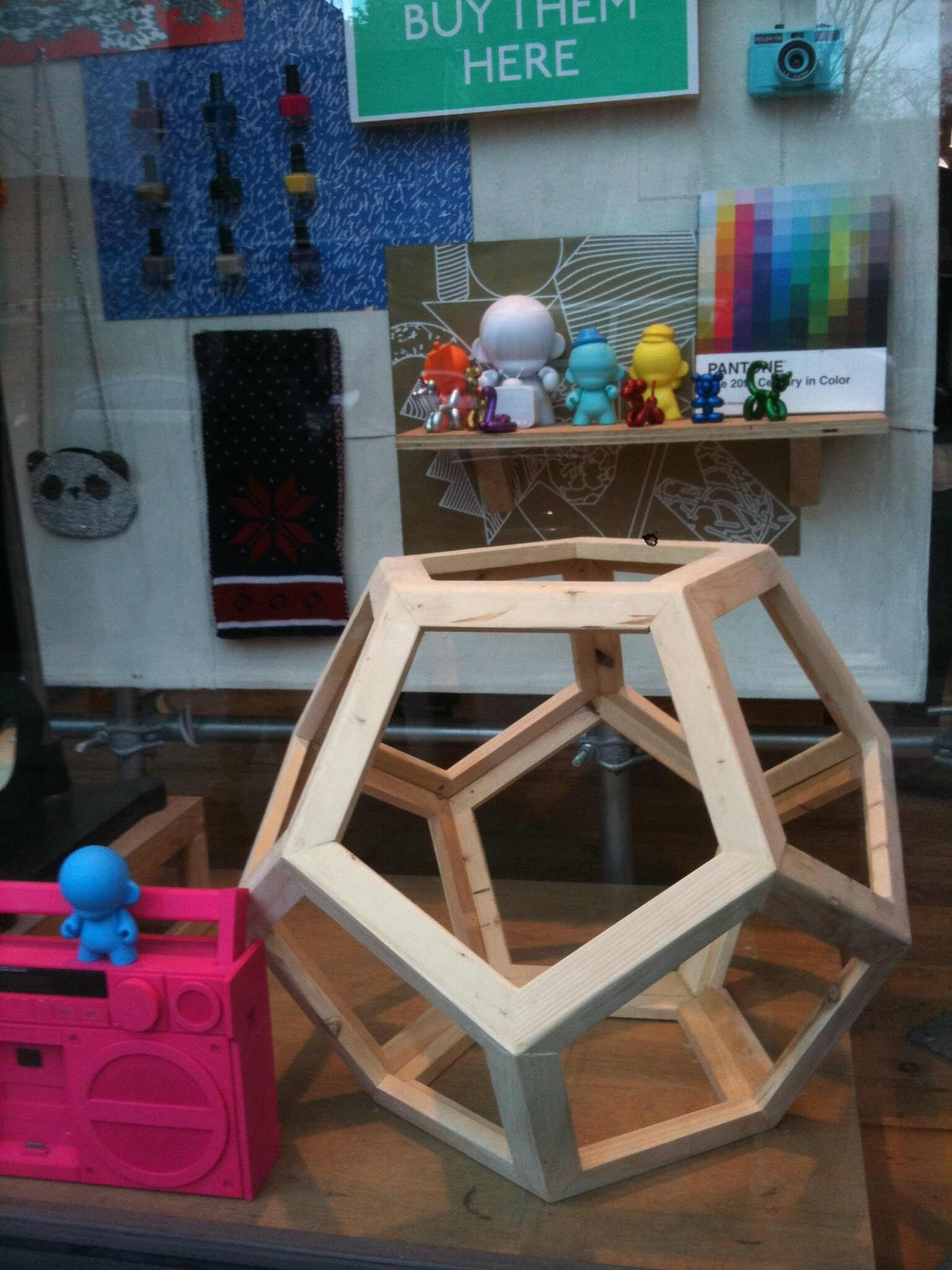 Geometrical wood sculpture ( Dodecahedron ) window display. Urban Outfitters Brooklyn , wood