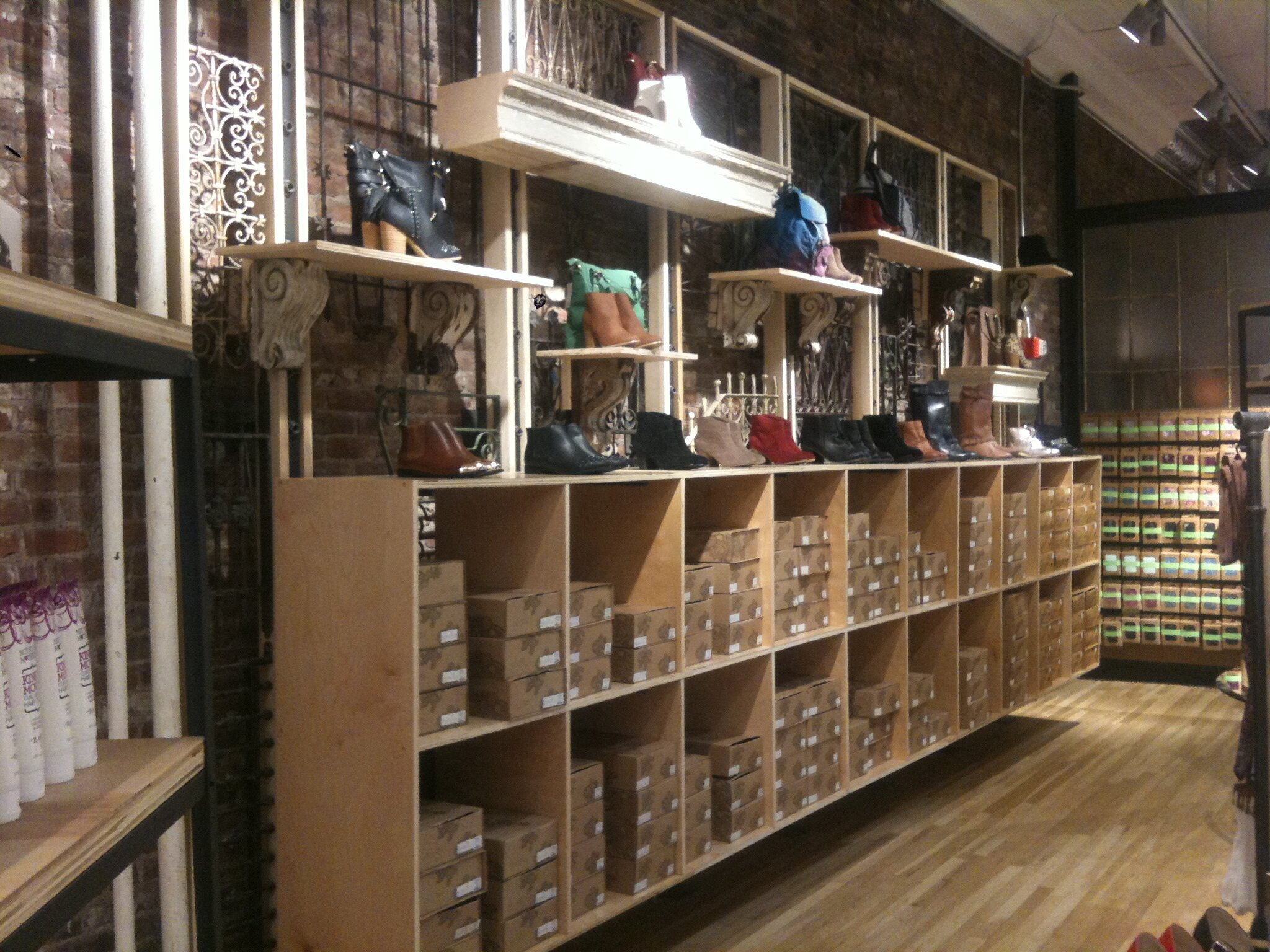 Floating shoe cabinet and floating shelves. Urban Outfitters - NYC, -wood, antique architectural elements