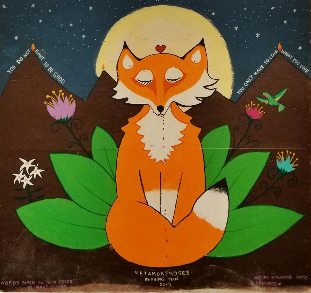 Fox mural painted at Burning Man 2019