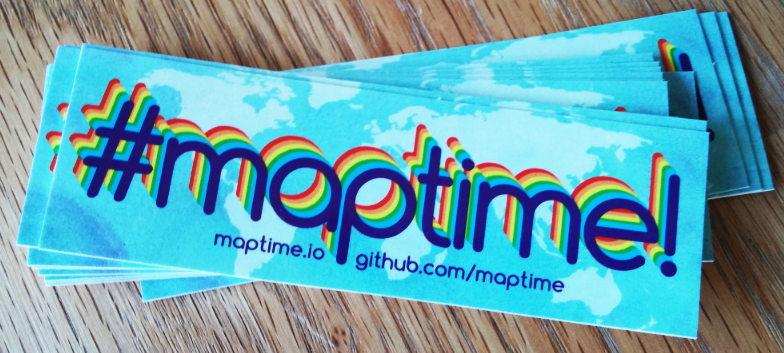 Stickers made for Maptime, 2014
