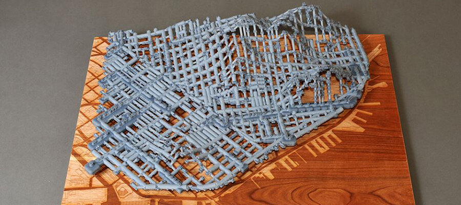 Water Works, a 3D-printed map of underwater cisterns, created by Scott Kildall as part of 2014 Stamen Fellowship, in partnership with Autodesk