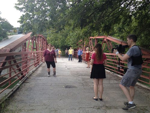 Shooting on the bridge location in Austin, TX.