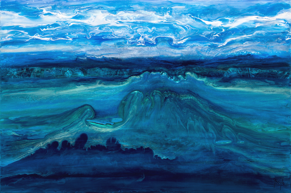 Across Land, Sea & Sky,  acrylic on linen, 91 x 61cm