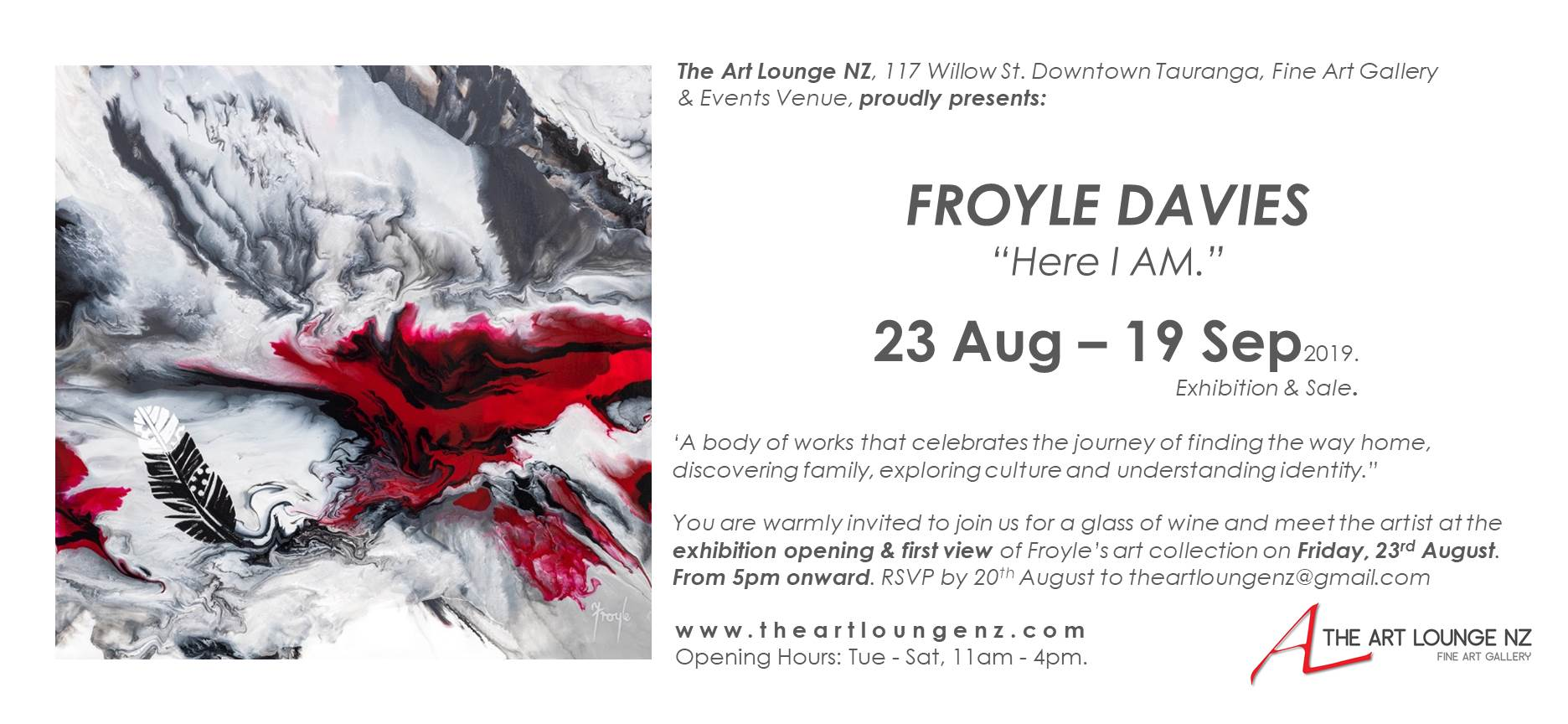 FROYLE DAVIES Exhibition Here I AM  23 Aug to 19 Sep 2019  at The Art Lounge NZ Invitation.jpg