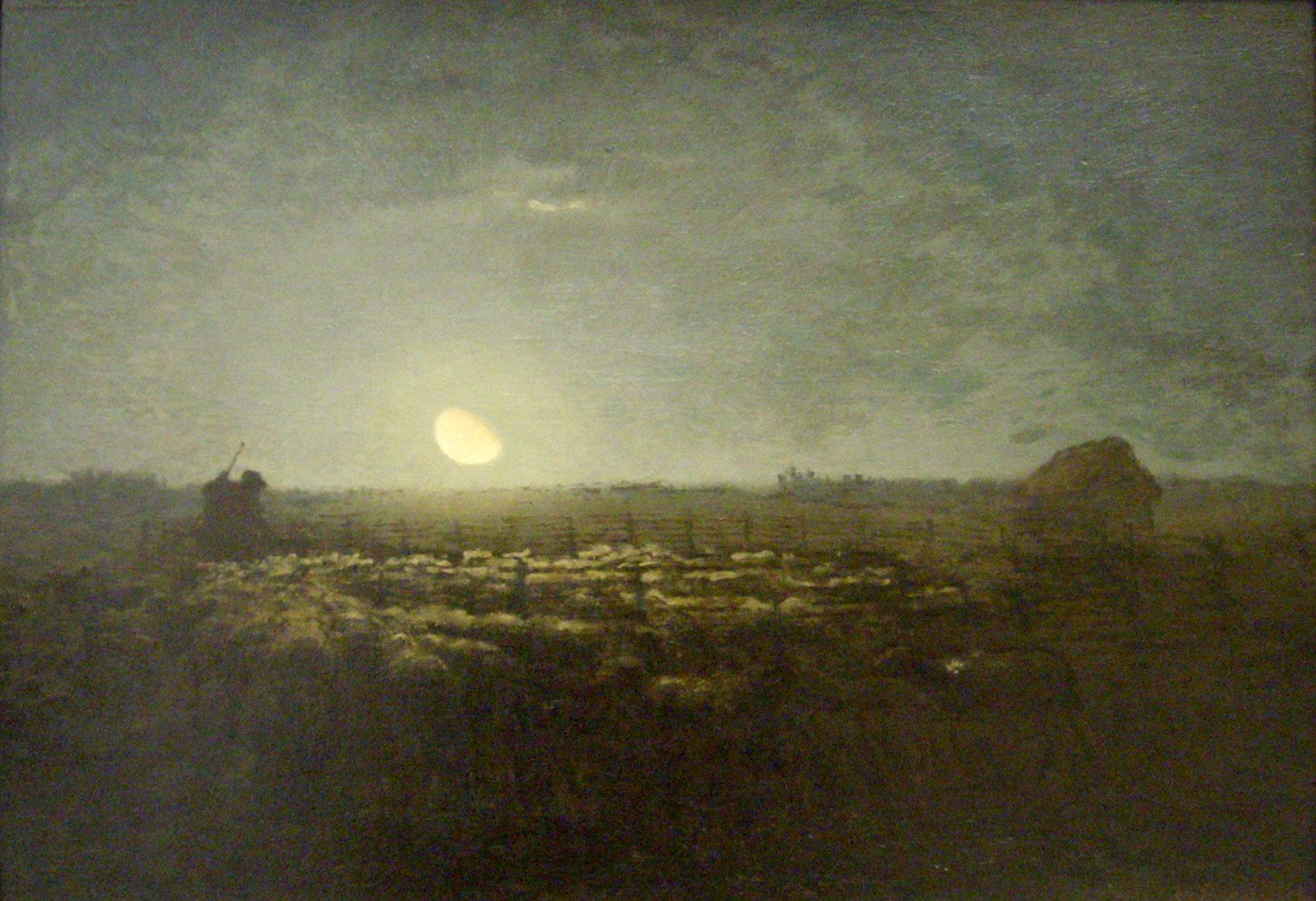 Le parc à moutons, clair de lune - óleo sobre tela - Jean-Fraçois Miller - cerca de 1872 - 1873