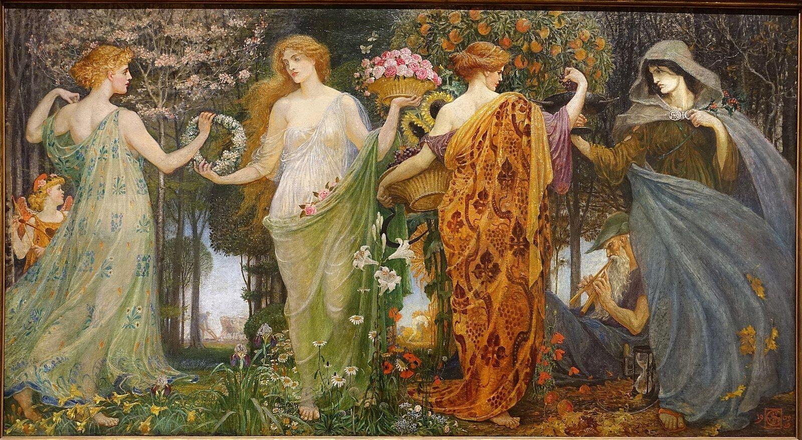 """Walter Crane - """"A Masque for the Four Seasons"""" pintada em meados de 1905-1909"""