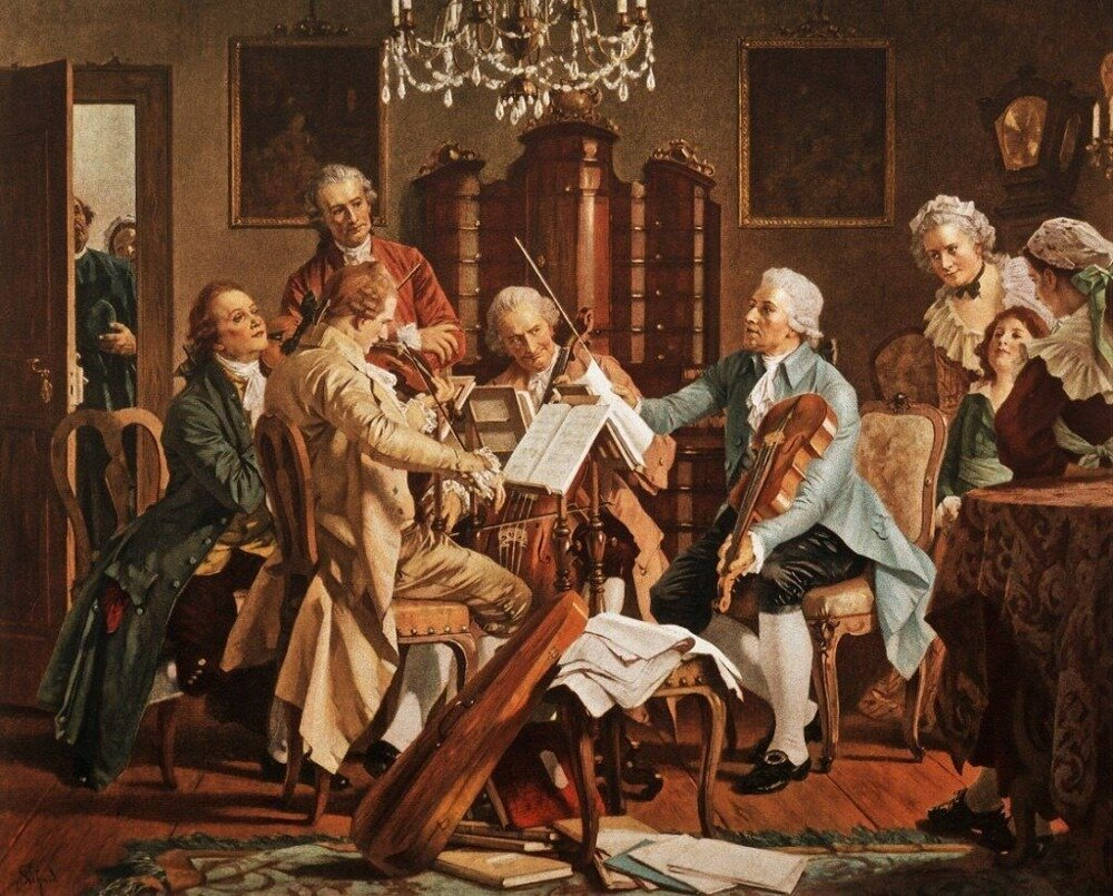 Joseph Haydn tocando quartetos (autor anônimo; Staatsmuseum, Viena)