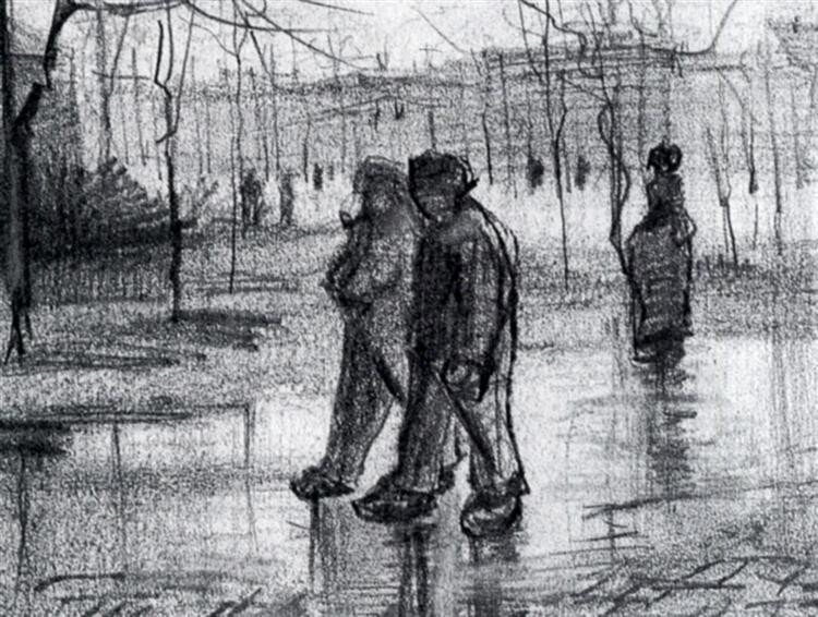A Public Garden with People Walking in the Rain for  Vincent van Gogh