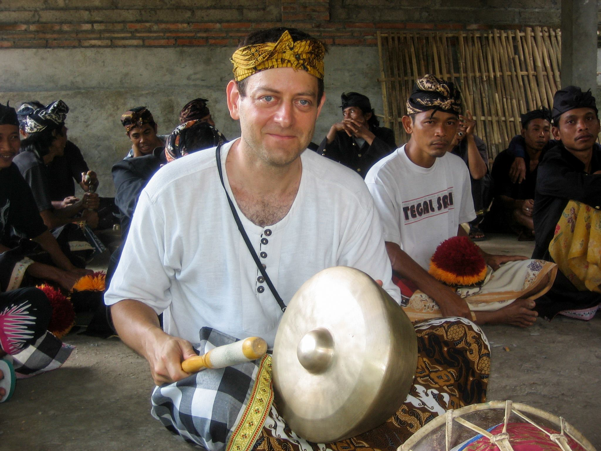 Joining the local gamelan orchestra, Bali, Indonesia