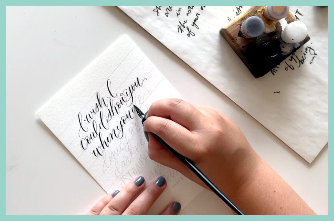 """Have you been wanting to learn calligraphy but have no idea where to begin? - Years ago when I started my lettering and calligraphy journey, I wasn't sure what tools I should be using or how in the world to get my writing to actually look good. What do I even practice?It was easy to feel like I had to wait to start to get the perfect tools. It was easy to feel unmotivated to practice because I didn't know where to start to get consistent and confident fast. (Spoiler: it probably won't happen as fast as you like!)I'll help you skip the whole """"where do I begin"""" conundrum + go straight to feeling like you have the knowledge and motivation to really rock this calligraphy game."""