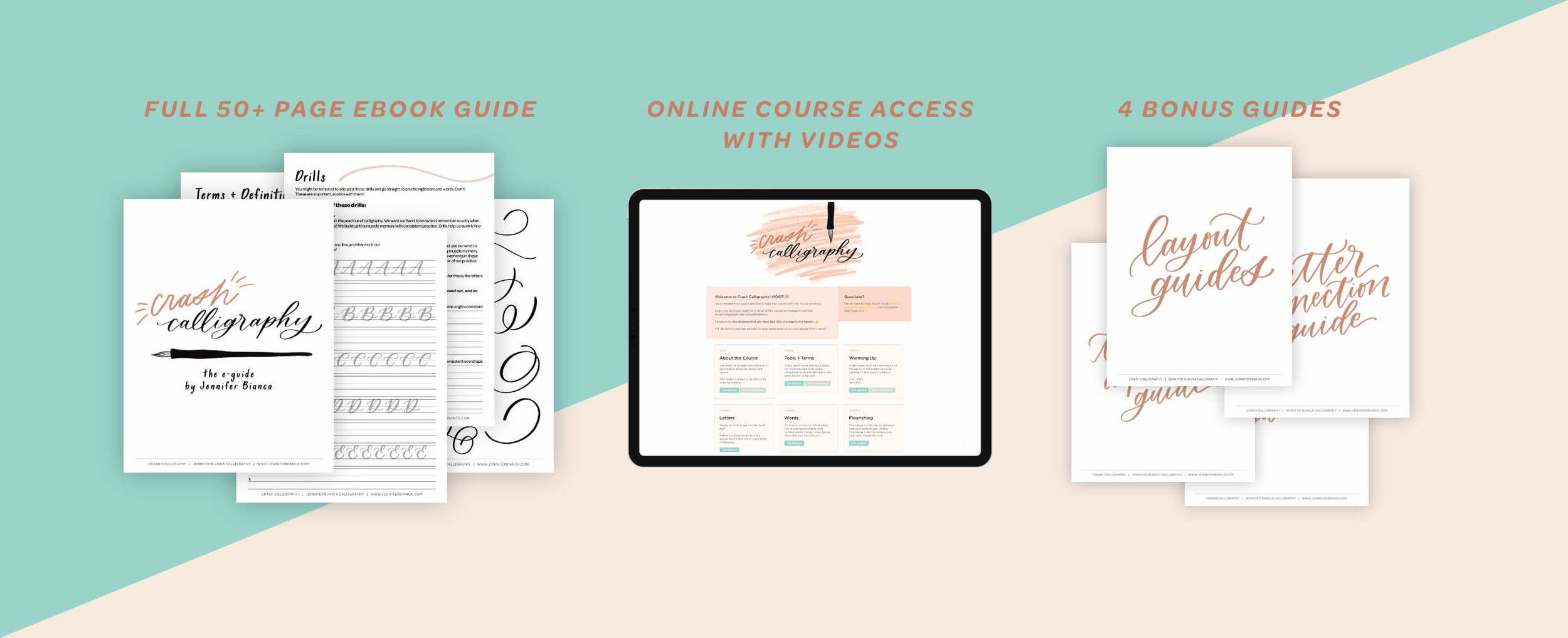 CRASH CALLIGRAPHY - + Full 50 page ebook guide (printable + traceable!)+ Online course access with videos+ Bonus Layout Guide+ Bonus Letter Connection Guide+ TWO Bonus Alphabet Guides (in Traditional and Delicate styles)