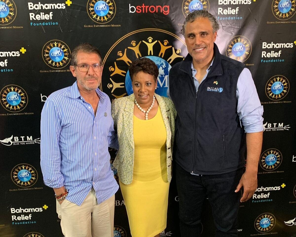 Left to Right: Michael Capponi (Founder, Global Empowerment Mission), Linda Mackey (Consul General for the Consulate of The Bahamas, Florida), Rick 'Ulrich' Fox (President, Bahamas Relief Foundation)