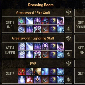 dressing room - Allows you to save your action bars and equipped gear items as preset and unique sets, so you can easily change gear and skills between combat.Note: Will not work during combat.