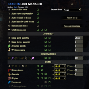 Bandits Loot Manager - Auto deposits things you identify to your bank or into your junk. Great for non-ESO+ members as it will auto deposit mats. Can be set up differently for each character. Can also keep a base amount in your bags, such as 200 soul gems or 10k gold. Very time saving addon!