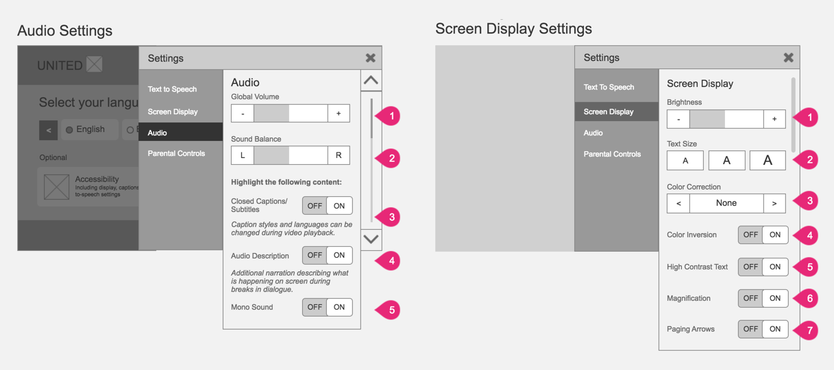 Customisable audio and screen settings