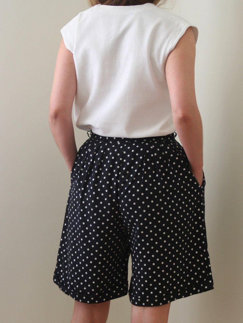 90s Vintage Black Elastic Waist Skirt With White Polka Dots