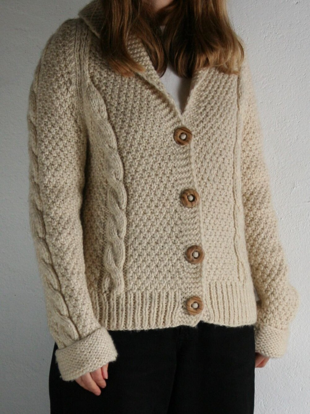 Vintage wool cable knit cardigan