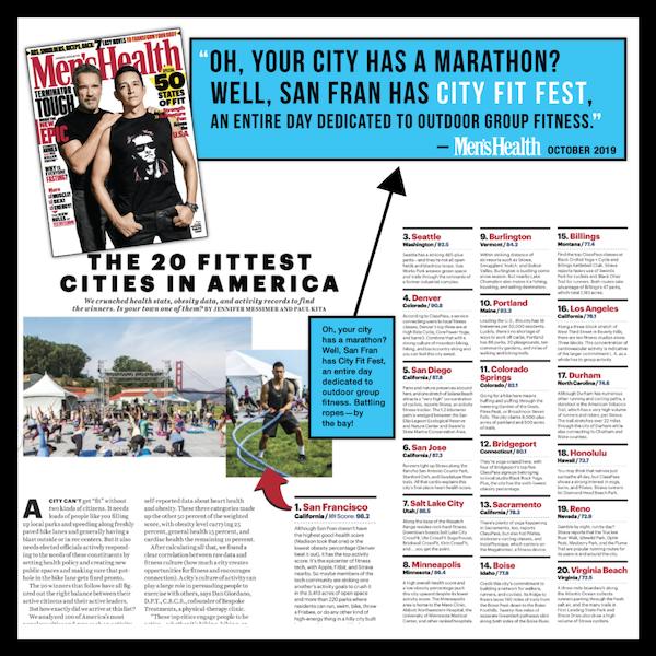 "San Francisco named ""America's Fittest City"" - Men's Health (October 2019)"