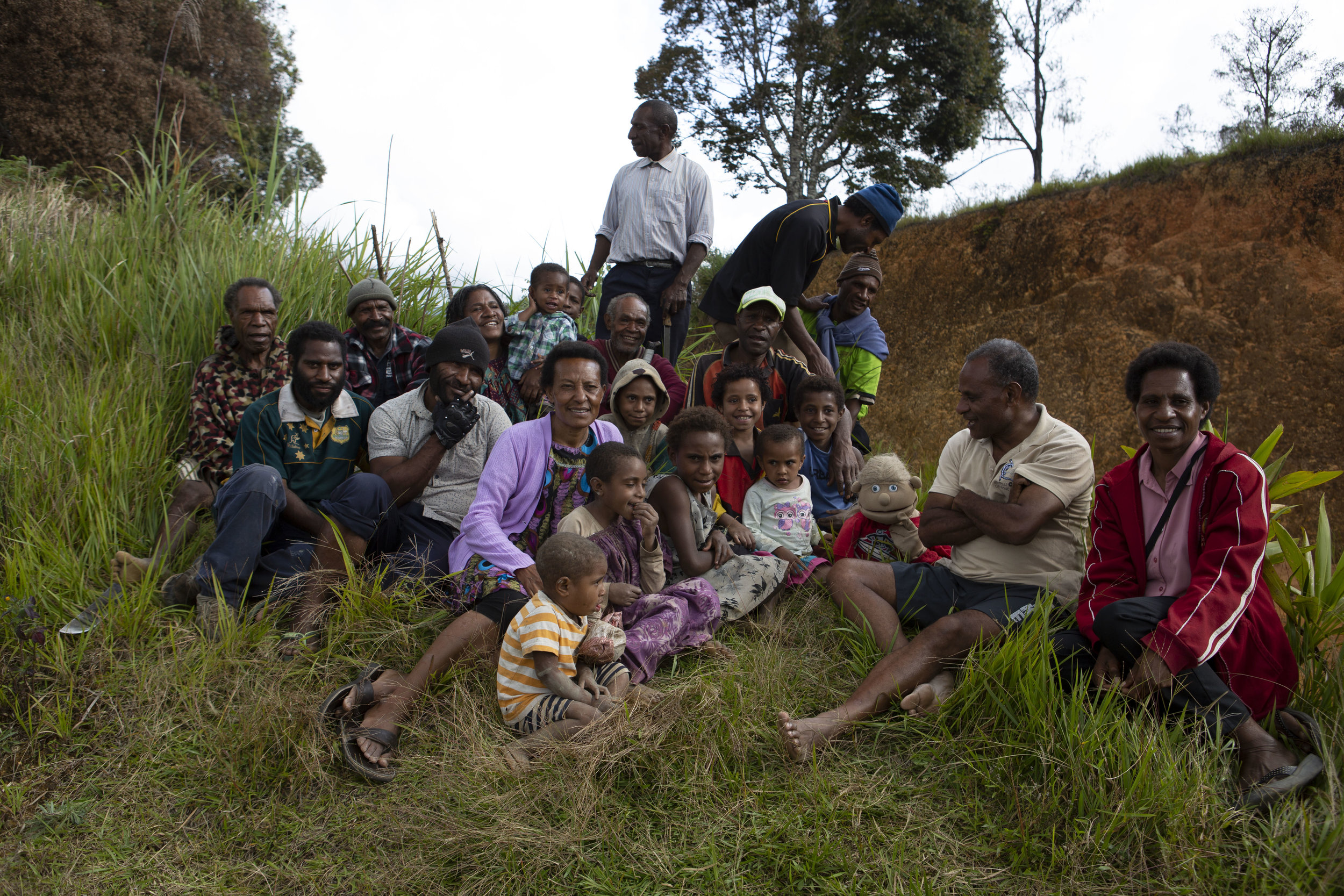 Shane with new friends in Papua New Guinea