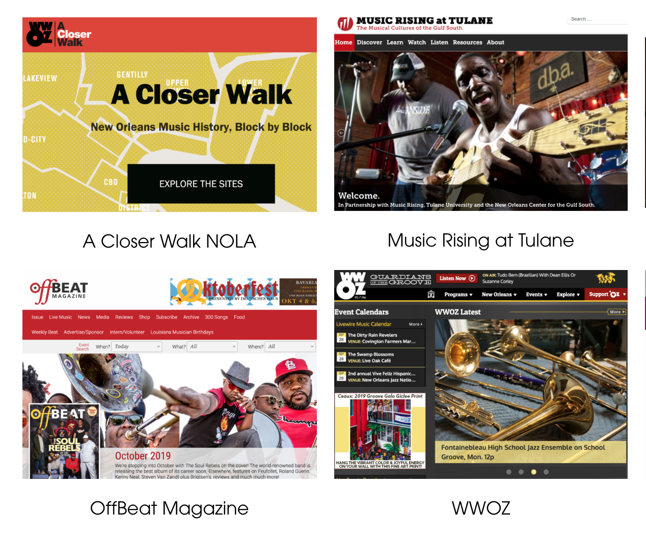 Online Resources - This list includes online resources that investigate New Orleans' diverse musical forms. Since these sites target all audiences, teachers should always preview content for students.